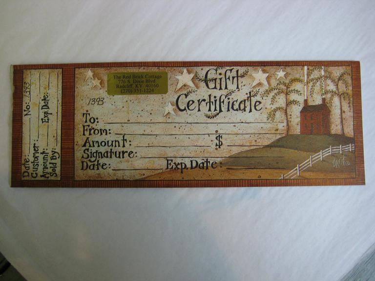 Gift Certificates - Primitive Style Gifts in Louisville, KY